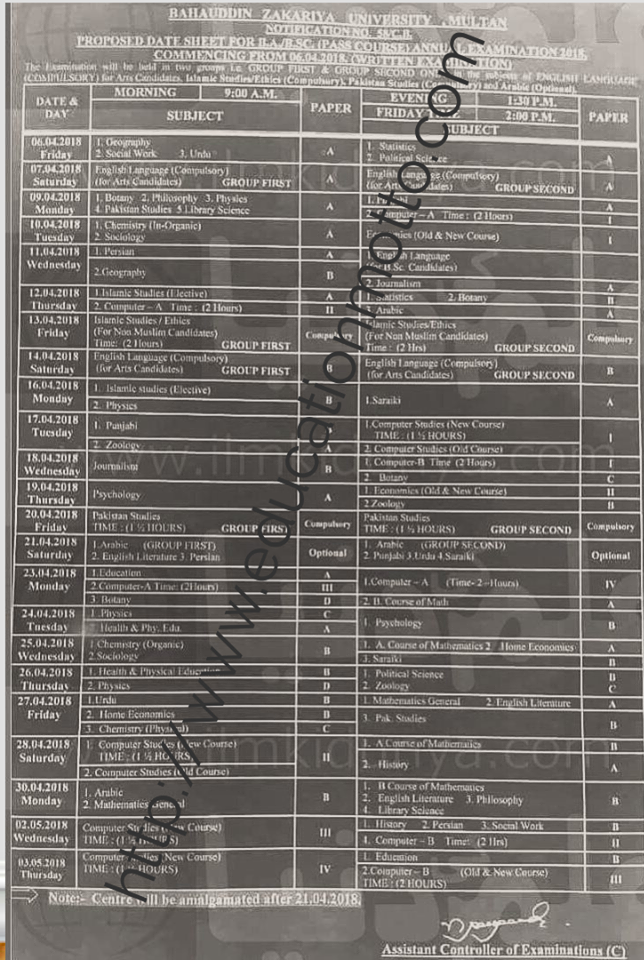 Download date Sheet of BZU University BA, B.Sc 2018, Introduction of BZU, BA, BSc Date Sheet 2018 Bahhauddin Zakariya University Multan,
