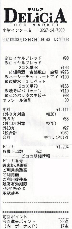 デリシア 小諸インター店 2020/3/8 のレシート