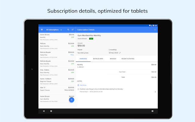 Screenshot Zoho Subscription App Management - Apcoid