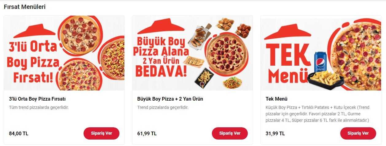 pizza hut menü indirimleri