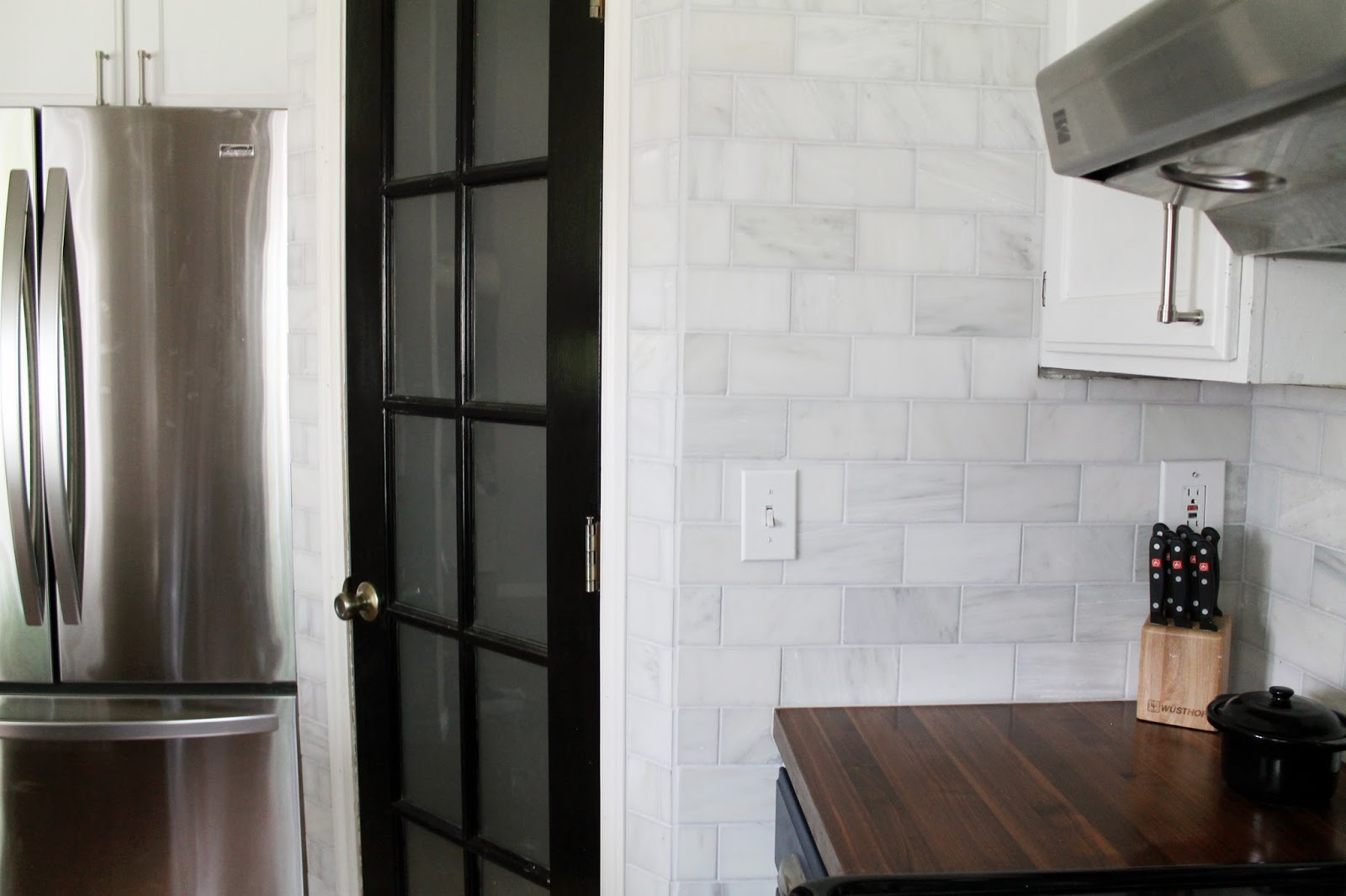 Dark Grey Subway Tile Backsplash That Hampton Carrara Marble Backsplash-Done-zo!! - Chris ...