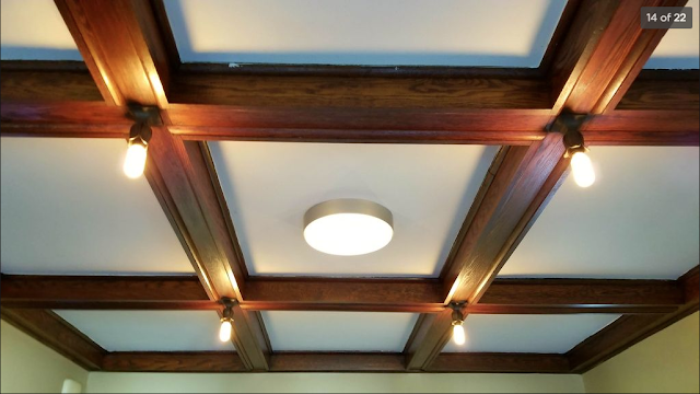 decorative wooden beams on ceiling of Sears Belmont • circa 1916 • 501 W. Spencer Avenue, Marion, Indiana
