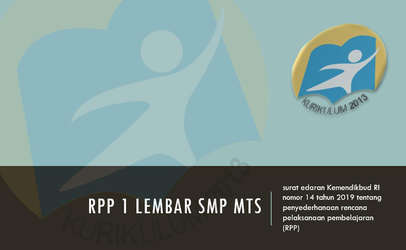 Contoh RPP 1 Lembar MTs SMP Tahun 2020
