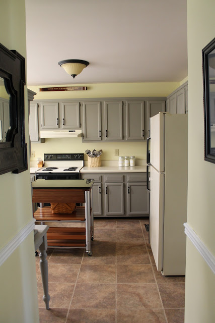 Favorite Paint Colors - gray and yellow kitchen