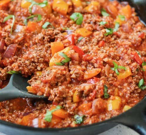 Whole30 Unstuffed Pepper Skillet #diet #ketofriendly