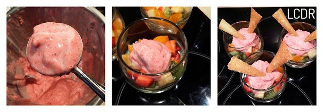 Receta de ensalada de frutas con helado exprés y crujiente de piñones 06