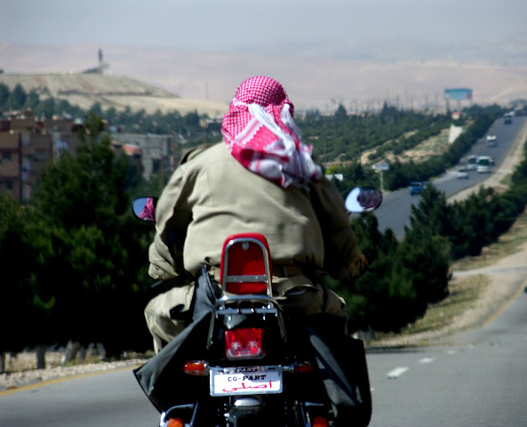 Motorcycle on the road to Damascus in Syria