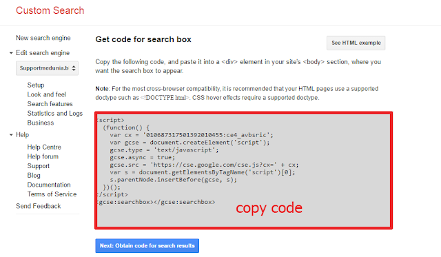 get code for search box