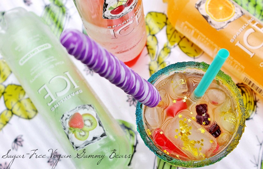 #BeNotBland with the Zero Calorie Unicorn Mocktail- Complete with homemade Sugar Free Vegan Gummy Beat Garnish! #AD