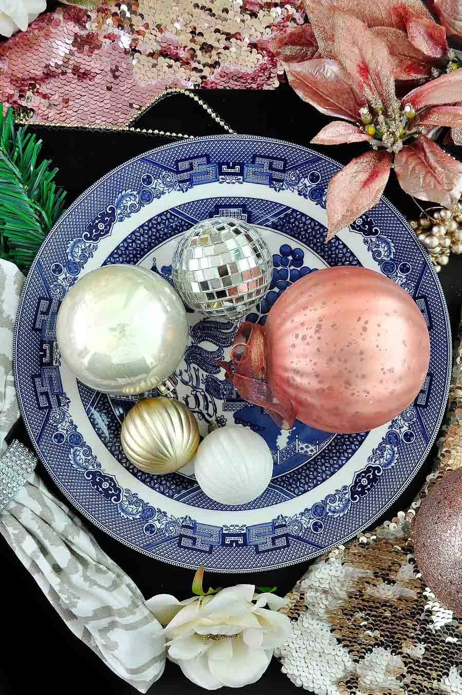 Blush & Chinoiserie Christmas Decor Theme: eclectic with gold, silver and white plus ginger jars and sequins make for glam holiday decor.