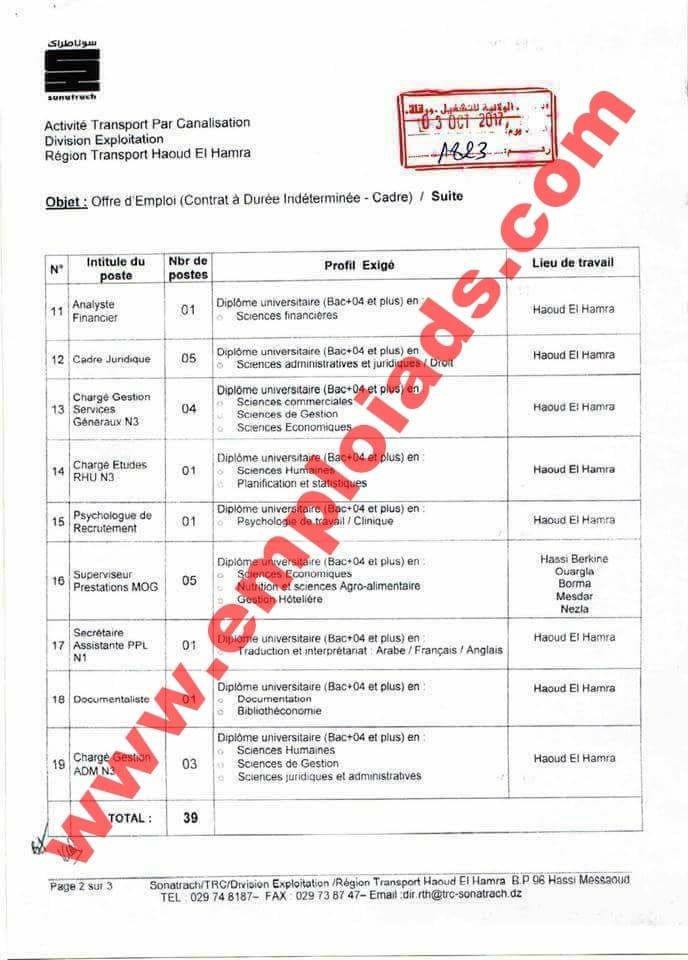 إعلانات توظيف بشركة سوناطراك ولاية ورقلة اكتوبر 2017
