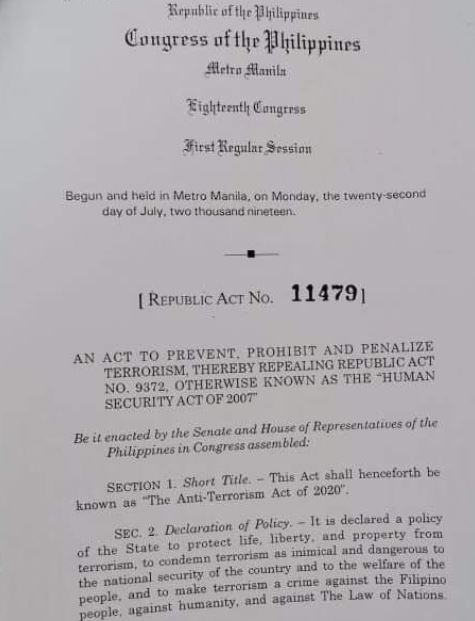 Copy of RA 11479 or the Anti-Terrorism Act of 2020.