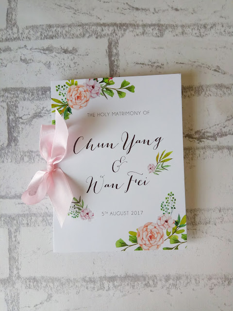 Folded Wedding Programme Floral Design with Ribbon