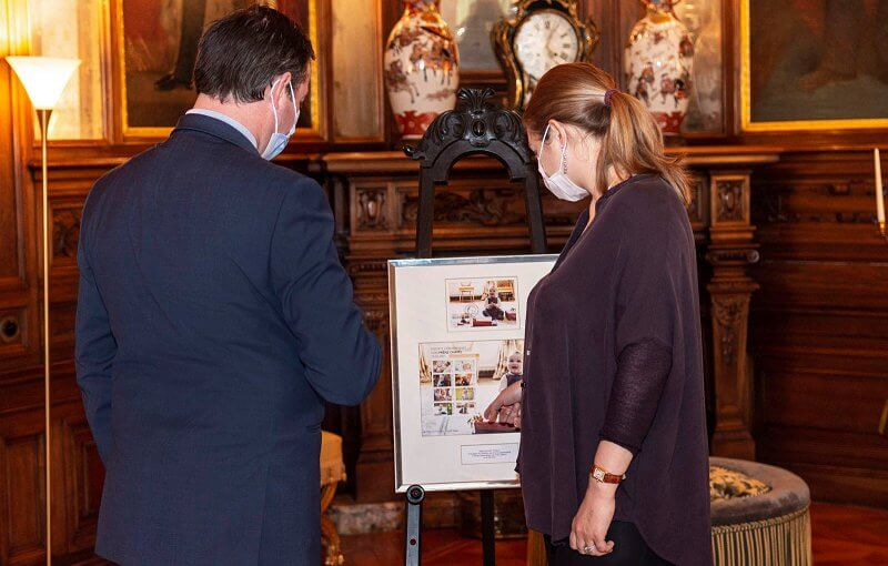 The first birthday stamp of Prince Charles. Hereditary Prince Guillaume and Hereditary Princess Stephanie