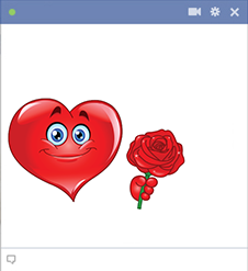 Rose heart emoticon for Facebook
