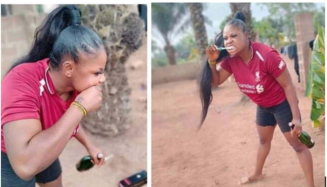 """Nigerian woman who vows not to brush her teeth with water this year """"goes gaga"""" with N28K Remy Martin as alternative"""
