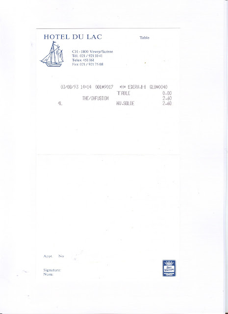 Receipt for cup of tea at the Hotel du Lac, Vevey, in 1993