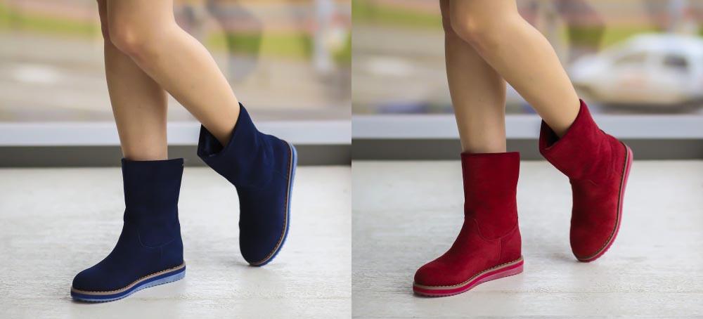 Cizme tip UGG piele intoarsa ieftine online rosii, albastre de calitate