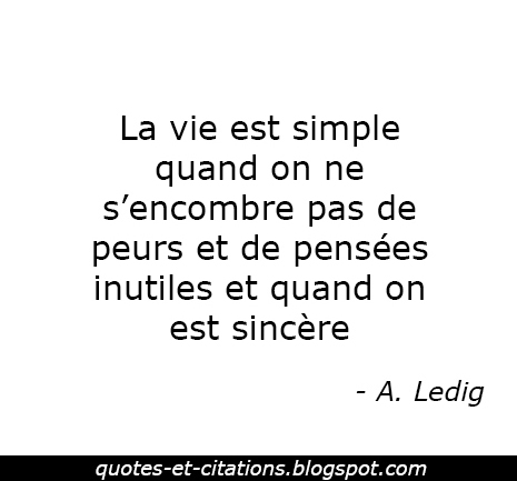 citation la vie est simple