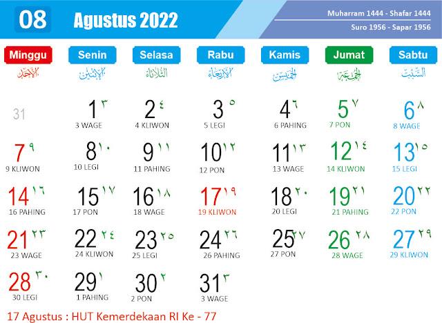 Kalender Agustus 2022 - Kanalmu