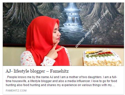 Kemunculan AJ di FAMEHITZ.COM Sebagai Lifestyle Blogger