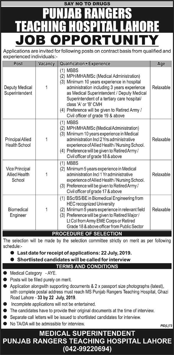 Punjab Rangers Teaching Hospital Lahore Jobs 11 July 2019
