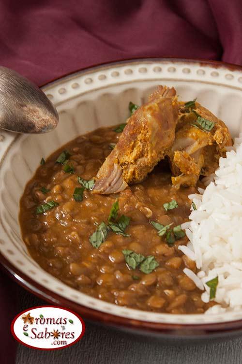 Carne de porco com lentilha