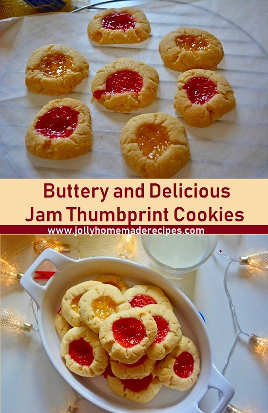Eggless Jam Thumbprint Cookies