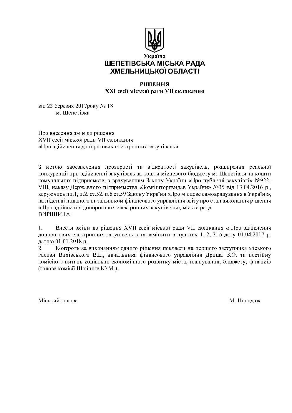 Рішення №18 від 23.03.2017 щодо відтермінування рішення про здійснення допорогових закупівель