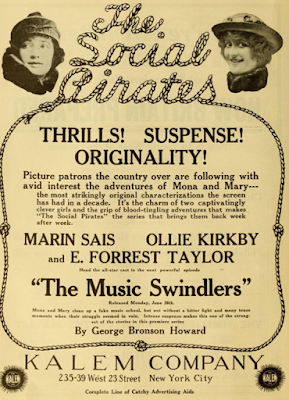 Ad for The Social Pirates movie serial authored by George Bronson-Howard