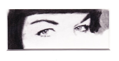 """""""Eyes of Bettie Page"""" Charcoal on Paper, c. 2007 2 x  4 inches"""