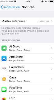 Personalizzare le notifiche iOS
