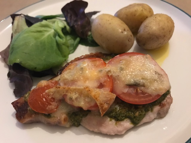 Recipe, Dinner, Simple Eats, Pesto Pork, Pork & Gorgonzola,