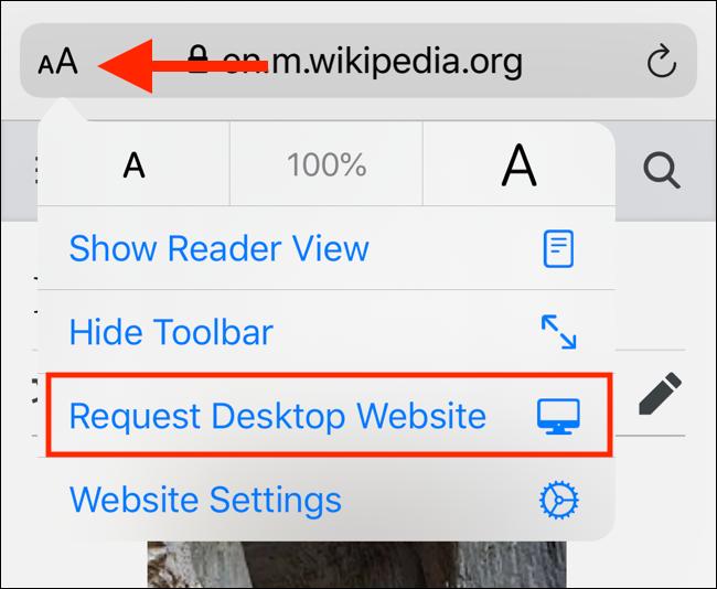 قائمة جديدة في iOS 13 لطلب موقع سطح المكتب