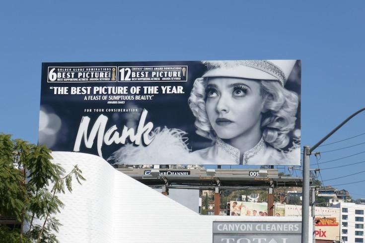 Mank Golden Globe nominee billboard