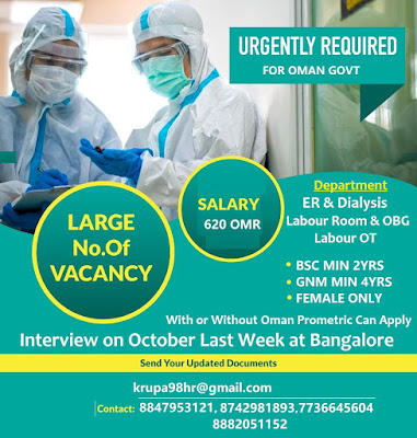 Urgently Required Nurses for Oman Government