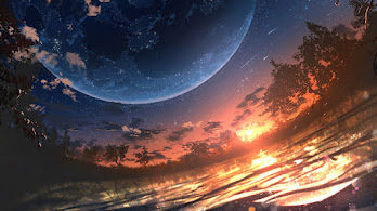 Sunset, Anime, Planet, Scenery, Horizon, 4K, #6.2604