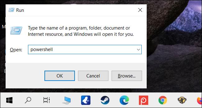 """اكتب """"powershell"""" في مربع النص ، ثم انقر فوق """"موافق""""."""