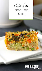 Easy Gluten Free Fried Rice Slice Recipe - slice of baked fried rice on white rectangular plate in front of grey baking dish