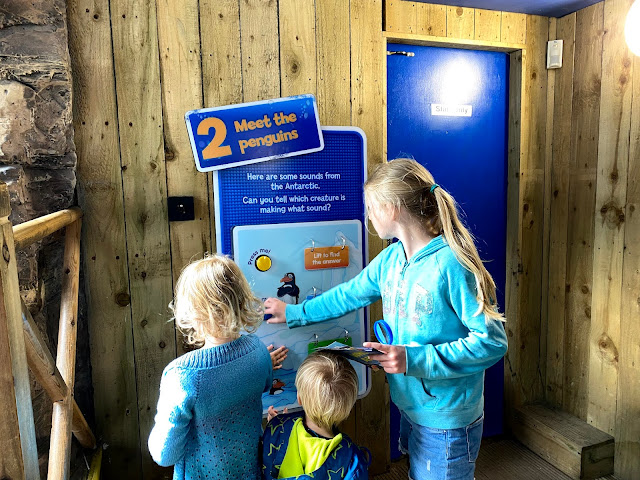 3 children looking at an activity in the penguin area of the SEA LIFE centre