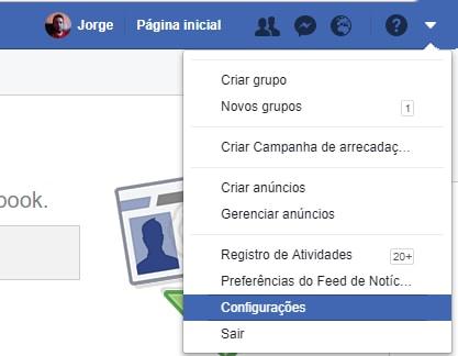 configurações facebook backup do perfil
