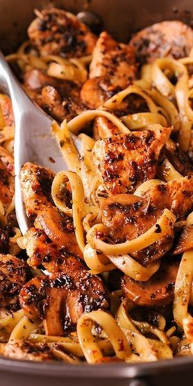 CHICKEN AND MUSHROOM PASTA WITH SIMPLE PESTO WHITE WINE SAUCE #recipes #foodandrecipes #food #foodporn #healthy #yummy #instafood #foodie #delicious #dinner #breakfast #dessert #yum #lunch #vegan #cake #eatclean #homemade #diet #healthyfood #cleaneating #foodstagram