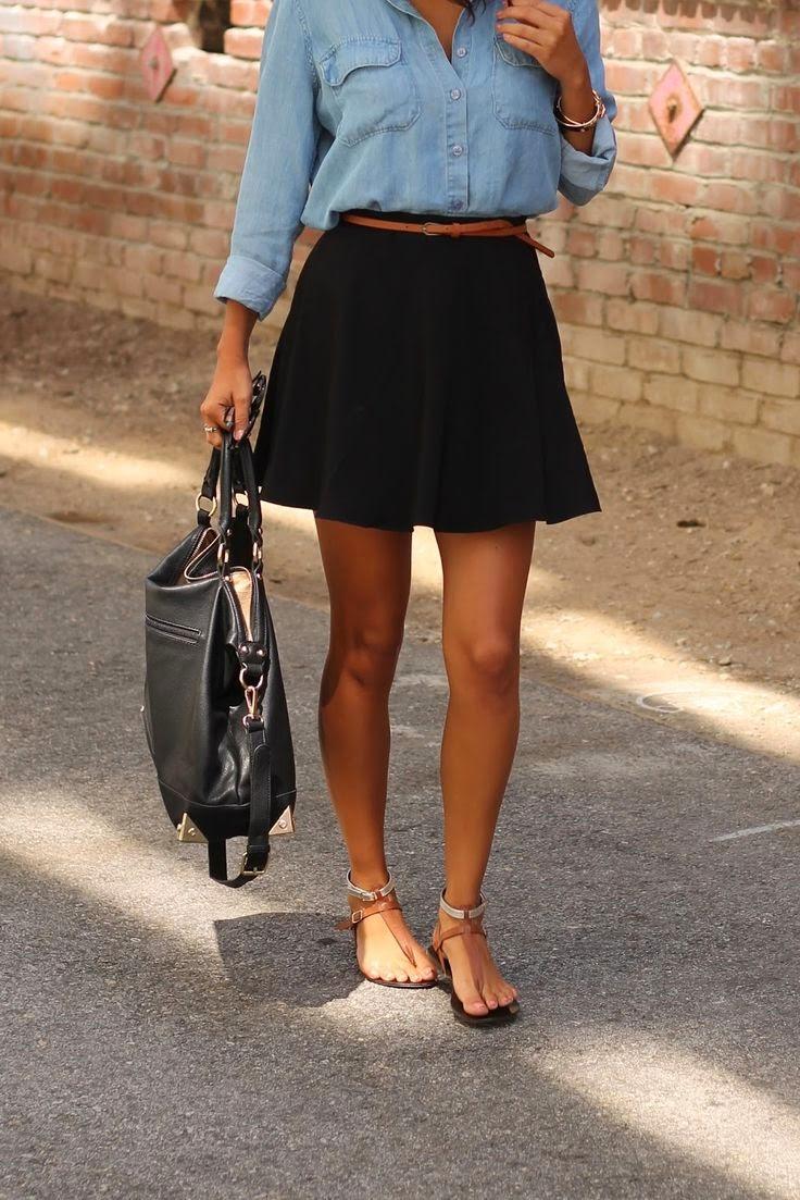 2019 year style- Shirt Denim and black skirt