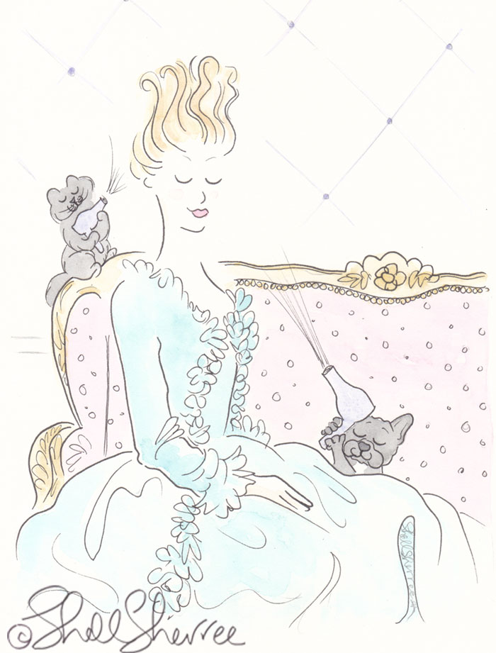 Fashion and fluffballs illustration: Marie Antoinette with French Bulldog and Cat Groomers © Shell Sherree
