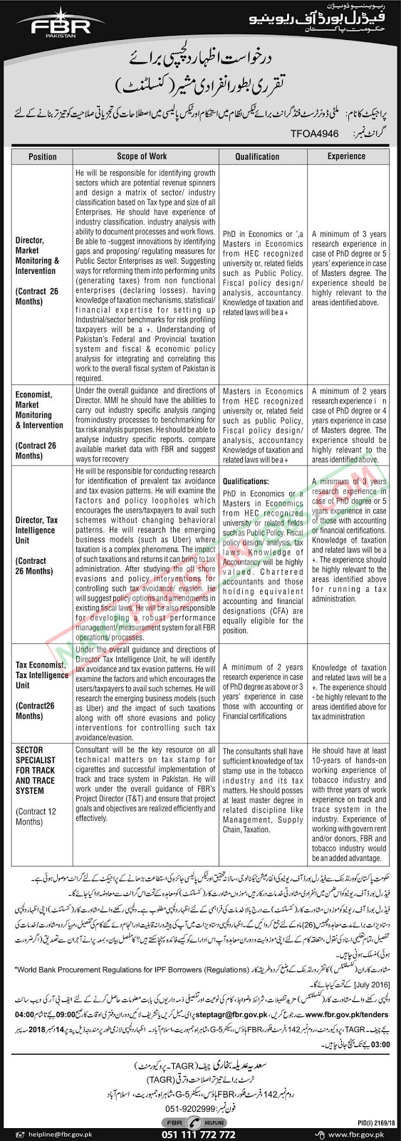 Latest Vacancies Announced in Federal Board Of Revenue Govt Of Pakistan FBR 14 November 2018 - Naya Pakistan