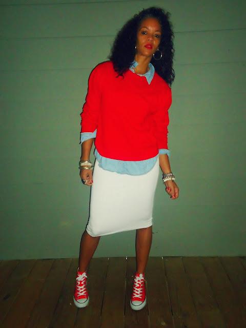 Midi Skirt and Converse