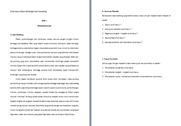 Contoh Makalah Studi Kasus dalam Bimbingan dan Konseling