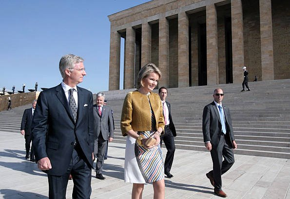 Princess Mathilde and Crown Prince Philippe attend a wreath laying ceremony at Anitkabir, the mausoleum of modern Turkey's founder Ataturk, in Ankara