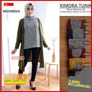 Dmb1205 Fashion Atasan 1 Kg 3 Pcs Kimora Tunik Turtleneck Stripe Fashion Murah