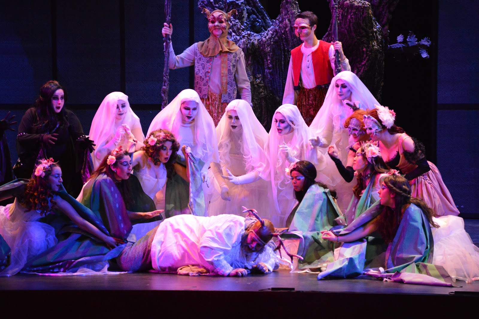 IN REVIEW: the cast of UNCG Opera Theatre's April 2019 production of Giuseppe Verdi's FALSTAFF [Photograph by Tamara Beliy and Amber Rose Romero]